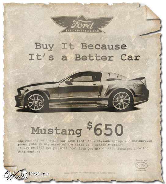 ford mustang Vintage Advertisement of Modern Technology
