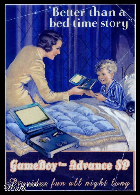 gameboy advance sp Vintage Advertisement of Modern Technology