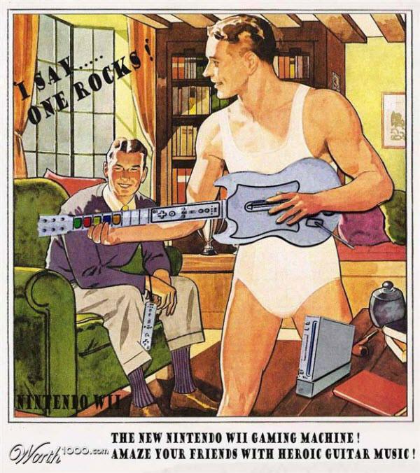 nintendo wii and guitar hero Vintage Advertisement of Modern Technology