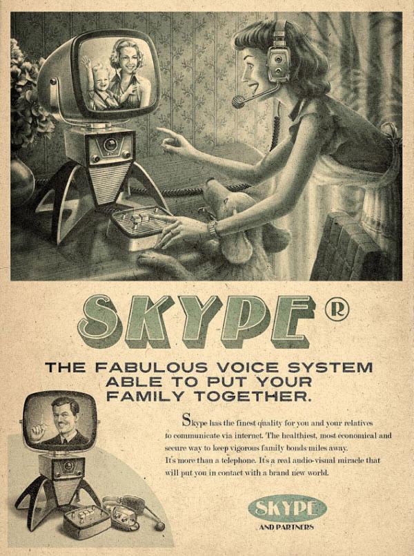 skype Vintage Advertisement of Modern Technology