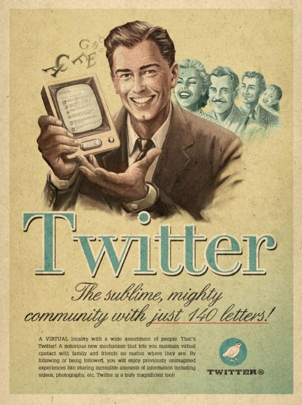 twitter Vintage Advertisement of Modern Technology