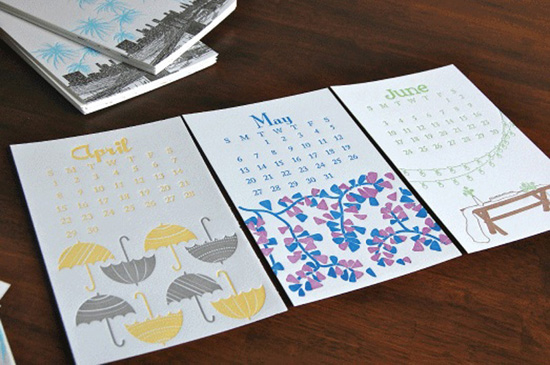 modern illustrated duo color letterpress calendar paisley tree press