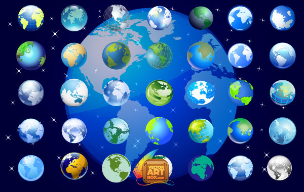 Earth Globe Icons Set Free Vector