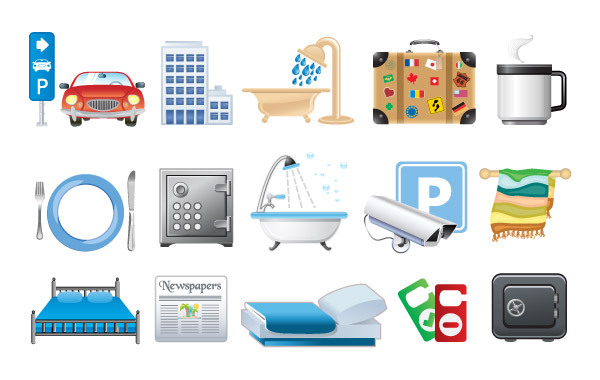 Hotel icons in vector format Free Vector