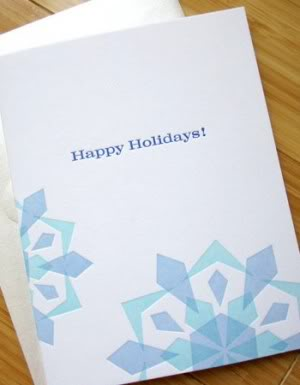 Studio SloMo Letterpress Happy Holidays Snowflake Card 300x385 2011 Holiday Card Round Up, Part 5