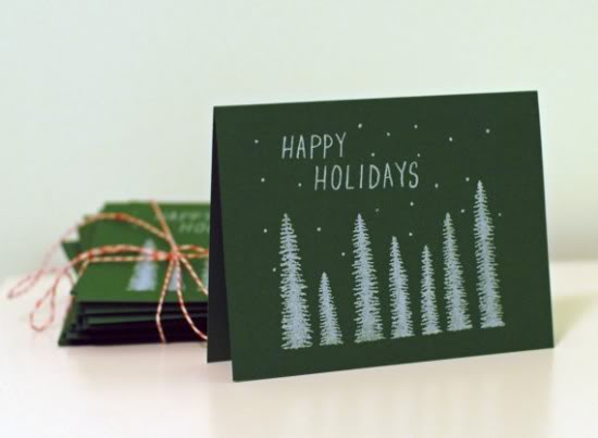 Moikka Paper Green White Illustrated Holiday Card 550x403 2011 Holiday Card Round Up, Part 5