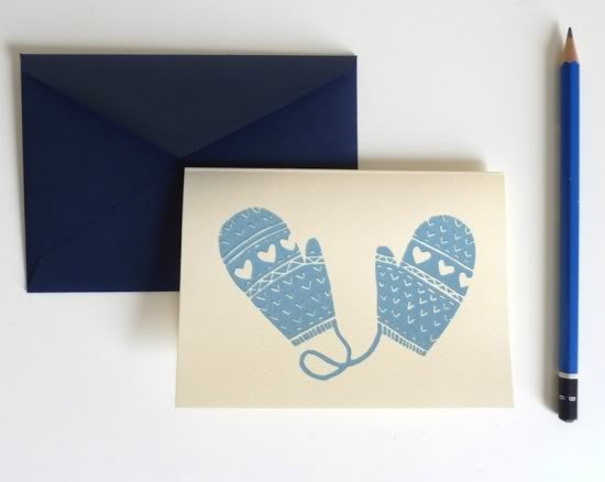 Erin Dollar Screen Printed Holiday Card Mittens 550x438 2011 Holiday Card Round Up, Part 5