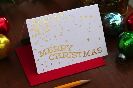 Tabletop Made Gold Foil Holiday Card 550x366 2011 Holiday Card Round Up, Part 4