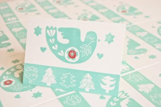 Hannah Madden Letterpress Christmas Dove Card 550x368 2011 Holiday Card Round Up, Part 5