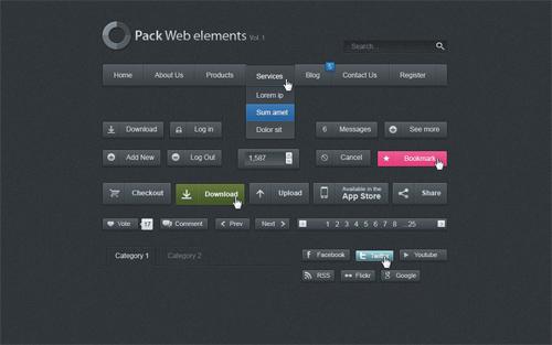 Free Dark Web UI Set