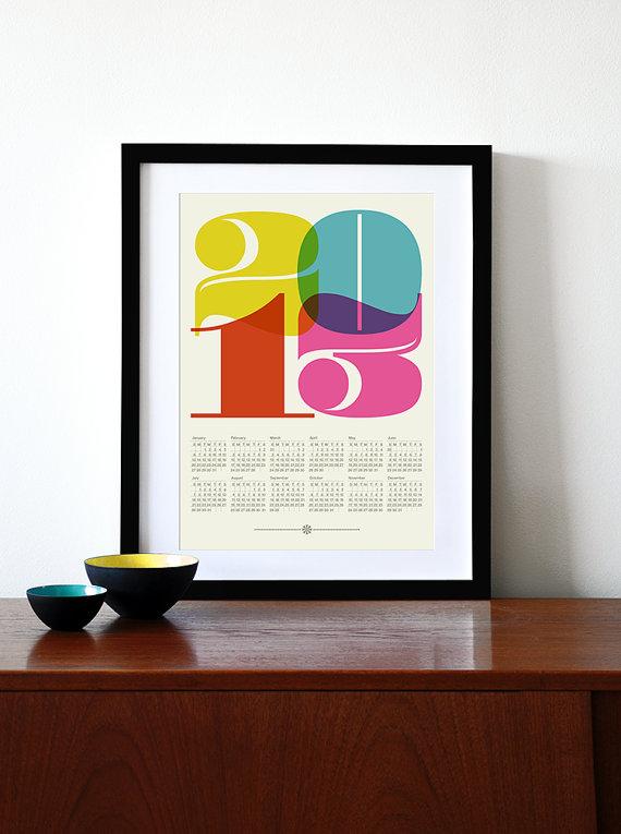 2013 calendar poster print retro vintage kitchen art Mid Century Modern retro office Eames - A3