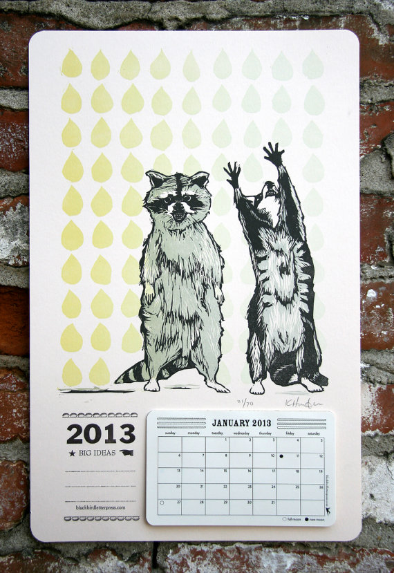 letterpress raccoon 2013 calendar