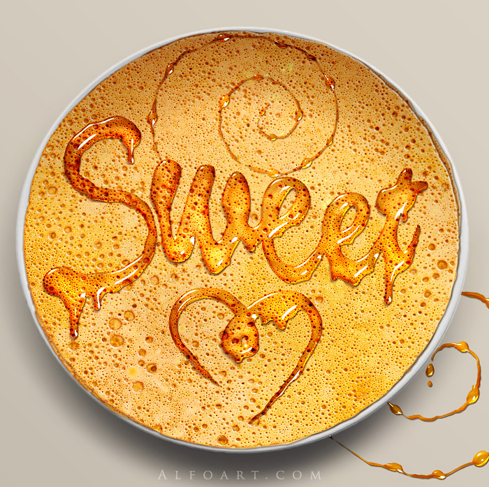 Honey leaking effect on the delicious pancake. Honey, sweet text effect, honey drops, realistic honey effect liquid honey, thin russian pancake.
