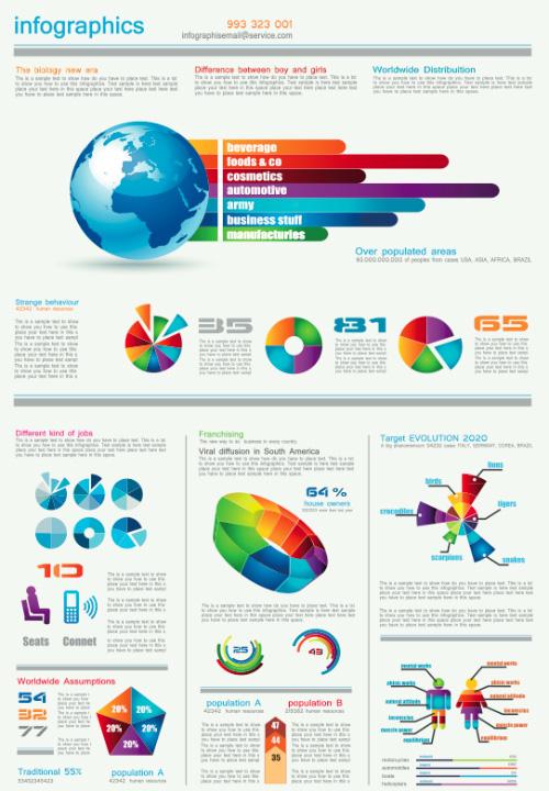 Gráfico e Infografía elementos de diseño vectorial 05
