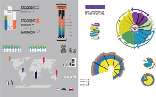 Iconos Infografía, Bares, gráficos circulares y gráficos-