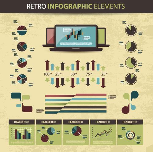 Retro elementos infográficos