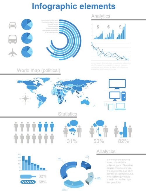 Analytics, World Map & Elements Estadísticas