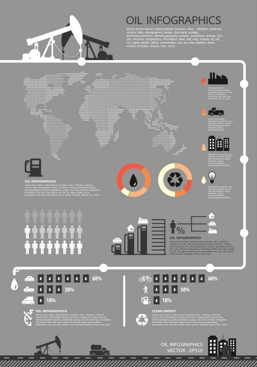 Infografía del petróleo para negocios