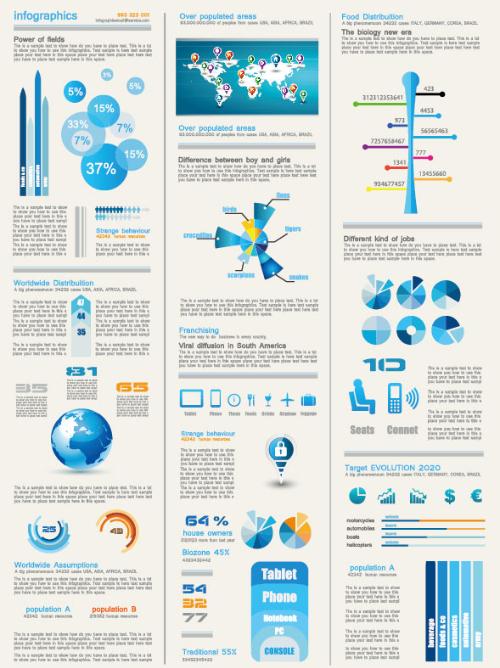 Conjunto de elementos de diseño gráfico e Infografía