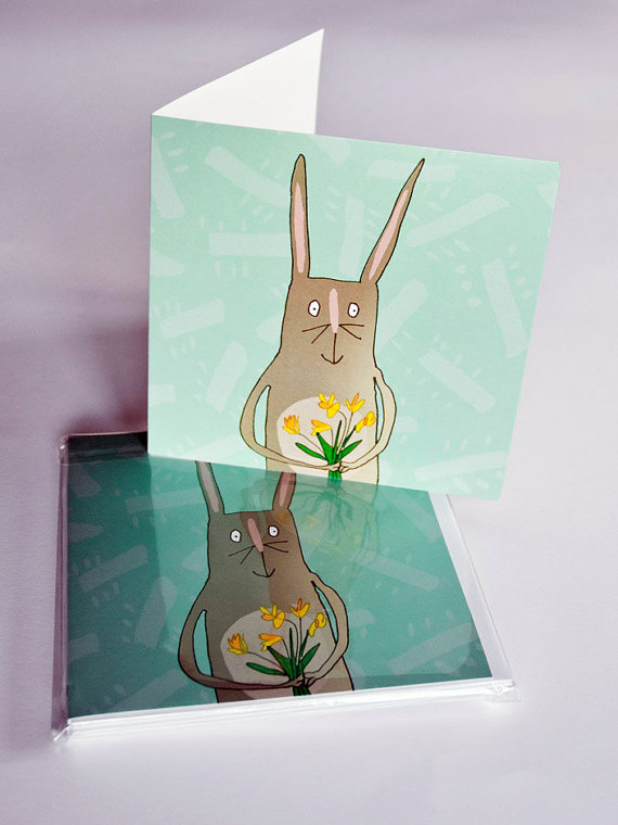 Easter bunny card, pack of 6 blank greeting cards, cute rabbit and daffodils illustration. spring green with yellow flowers.
