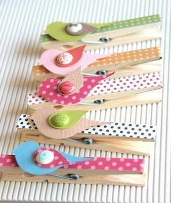 Bird Punch Laundry Pins.  By Janice Lee   I can see these made in reds and greens with a sprig of holly for Christmas clips...