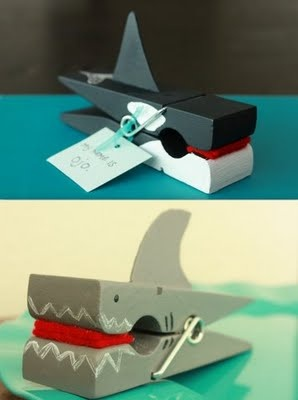 "whale and shark clothespin crafts - super cute! This could be a cute center for ""eating chunks, digraphs, or rhyming words"""
