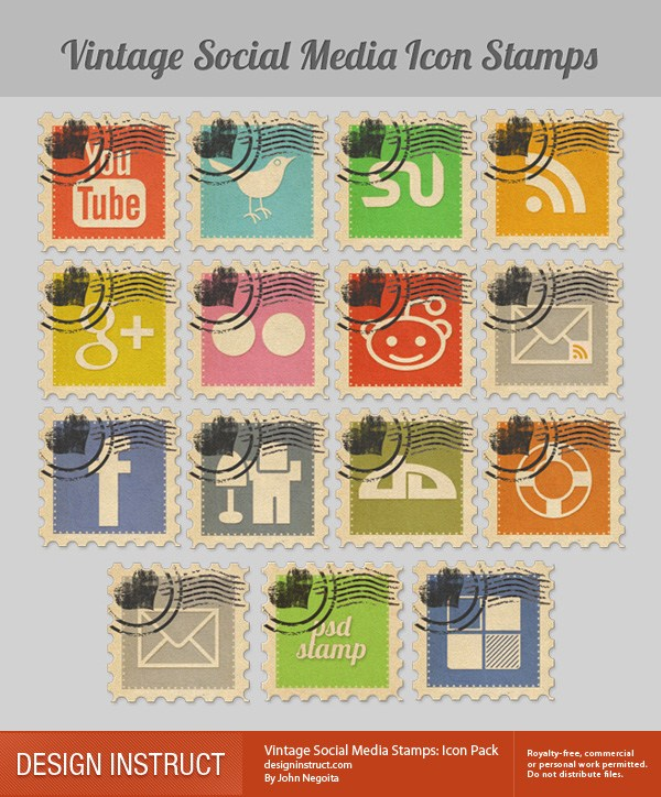 Sellos Social Media Vintage