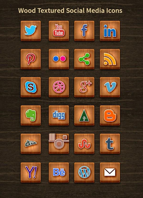 Madera textura Social Media Icons
