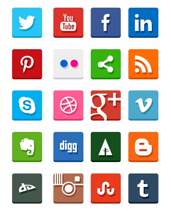 Simples Piso Social Media Icons