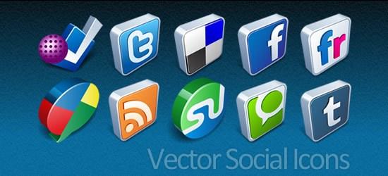 Vector 3D Social Icons