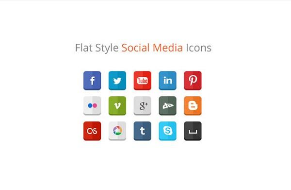 Estilo plano Social Media Icons