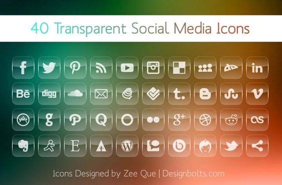 Transparent Social Media Icons