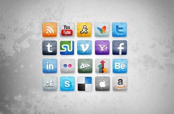 Social Media Icons manchada y Faded
