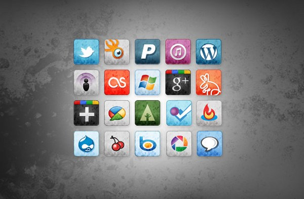 Social Media Icons manchada y Faded vol.  2