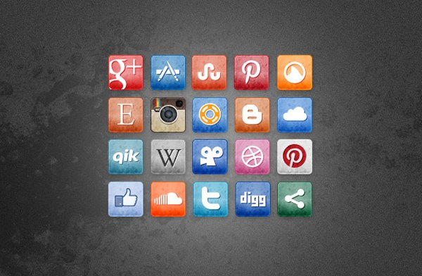 Social Media Icons manchada y Faded vol.  3