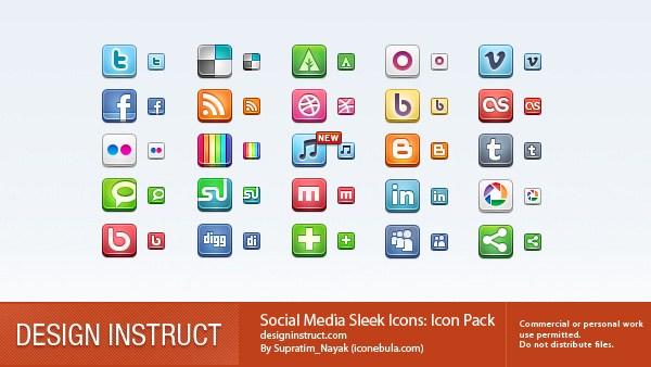 Social Media Icons Sleek