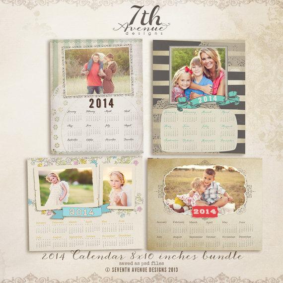 NUEVA plantilla de calendario 2014 - 8x10inch paquete