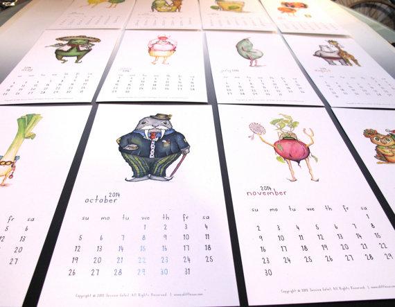 Calendario de pared 2014 - 12 mes del arte de la cocina en su calendario 2014