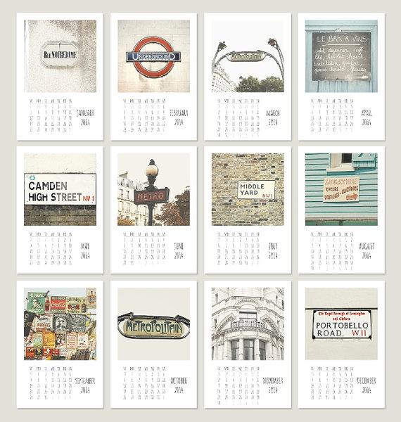 2014 Calendario mensual de calendario - calendario de escritorio letreros de la calle 4 x 6 - fotografía - colección de fotos artísticas