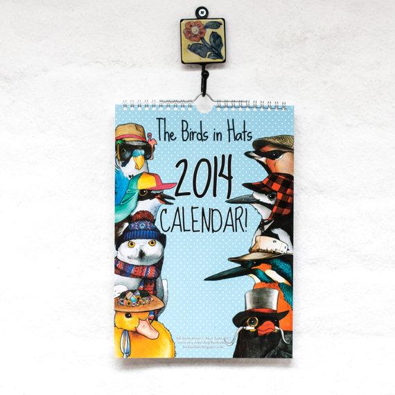 Las aves en calendario 2014 sombreros