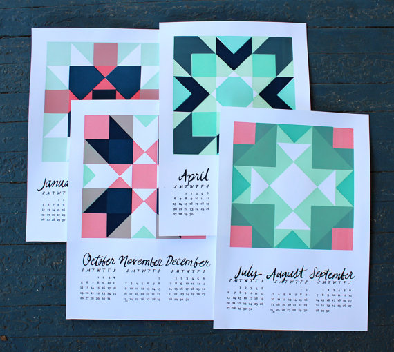 2014 Screen print Quilt Quarterly Wall Calendar