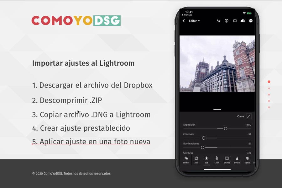 Cómo instalar presets de Lightroom en móvil